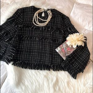 Zara Woman Cropped Tweed Fringe Blouse